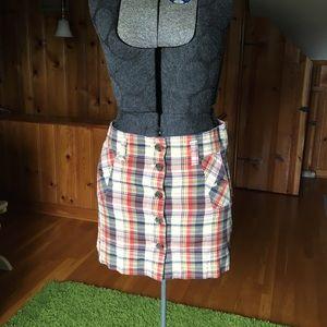 J. Crew plaid button front miniskirt